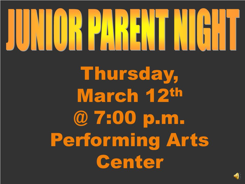 Thursday, March 12 th @ 7:00 p.m. Performing Arts Center