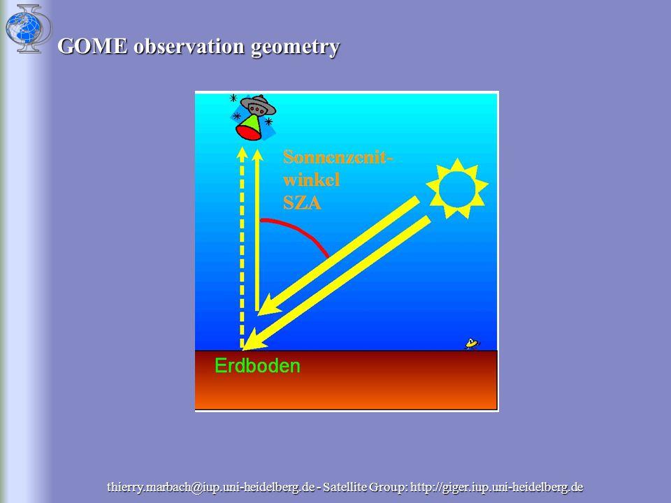 NO + O 3  O 2 + NO 2 NO + O  h + NO 2 Removal: NO 2 +OH  HNO 3 (day) NO 2 +O 3  NO 3 +O 2 (hight) NO 3  HNO 3 (N 2 O 5, Deposition, VOCs) Lifetime depends from: [OH], [O 3 ], [H 2 O], [VOC] temperature ~ hours bis to days (upper troposphere) thierry.marbach@iup.uni-heidelberg.de - Satellite Group: http://giger.iup.uni-heidelberg.de