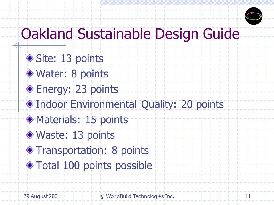 29 August 2001© WorldBuild Technologies Inc.12 Sample Strategy: Indoor Environmental Quality Strategy 4.1 Control and Isolate Source of Pollutants: Performance Indicator 1.