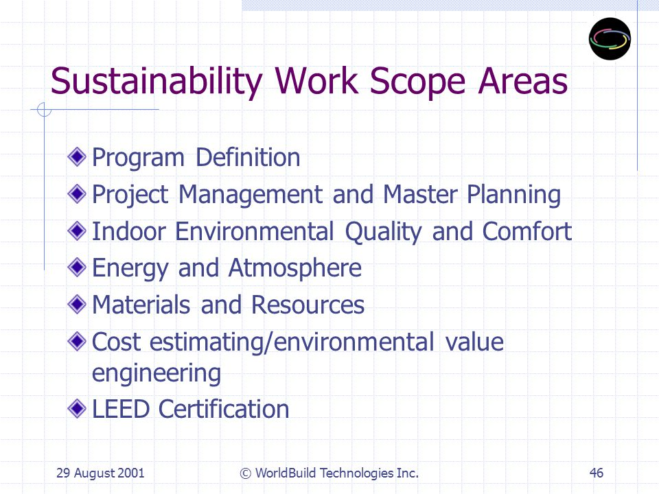 29 August 2001© WorldBuild Technologies Inc.47 Ridgehaven Green Goals Create a green showcase project Meet budget & schedule Beat energy code Good IAQ design Minimize waste Green materials: Recycled content Recyclable Renewable sources Green construction Green operations Monitor results Demonstration