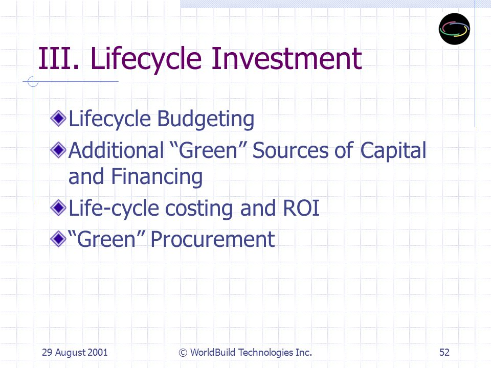 29 August 2001© WorldBuild Technologies Inc.53 Lifecycle Budgeting Budgets typically set too early and not always set to fit the project Doesn't usually include green Prioritizes green components and systems incorporated into initial budget May need incremental green funding Lifecycle costing & prioritization