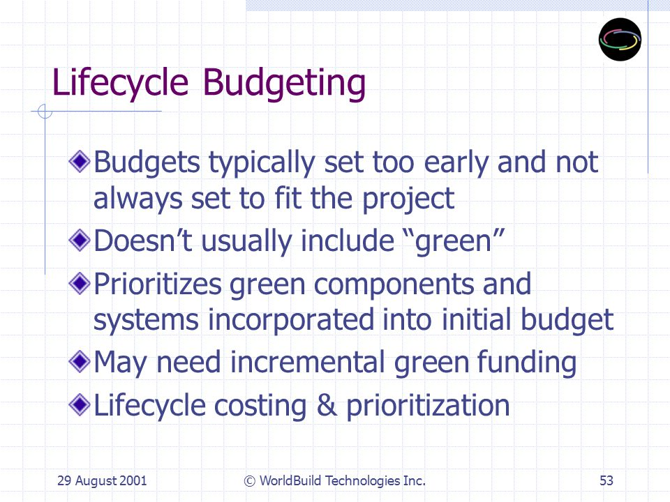29 August 2001© WorldBuild Technologies Inc.54 Green Finance Lifecycle budgeting first Systems Leasing chafage Off Balance Sheet financing 1 st Cost Capital Reduction Interface Evergreen carpet lease Central plant/mechanical systems Industry Partnering Green Bonds Green Banks, Appraisers & Insurance