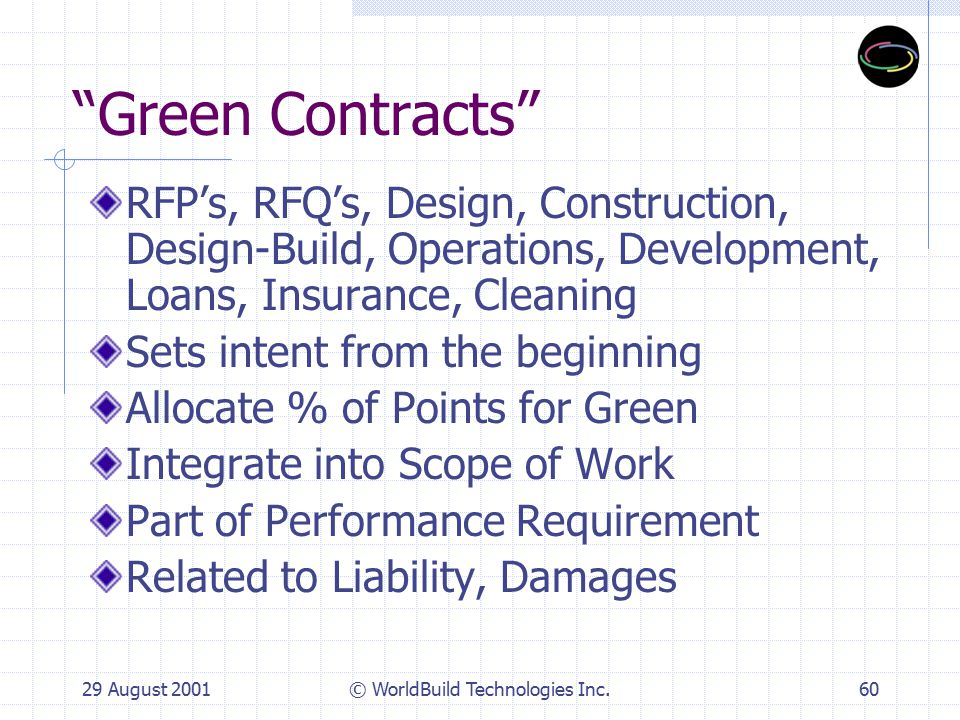 29 August 2001© WorldBuild Technologies Inc.61 Green Contract Provisions Description of Work Announcement Invitation to Bid Bid Conference Weighting System for Selection Design Criteria Contract Documents Qualifications Team Composition Green Plan Submittal Work Schedule Quality Assurance Bid Price Substitutions Warranty & Guarantee Final Completion Liquidated Damages Safety & Health