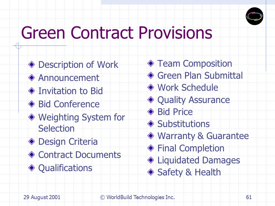 29 August 2001© WorldBuild Technologies Inc.62 RFQ/P and Bid Invitation Define sustainable building requirements State team qualifications Define selection criteria Pre-bid conference/meeting
