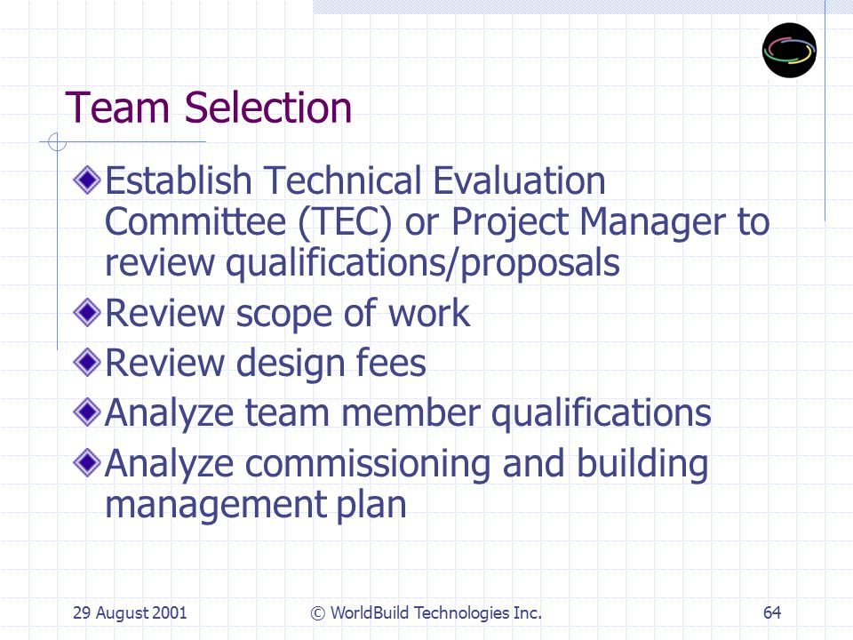29 August 2001© WorldBuild Technologies Inc.65 Bidder Requirements Team committed to sustainable building program, goals, performance benchmarks Bidder investigation and evaluation Design-Build, Design-Build-Operate, Energy Performance Contracts