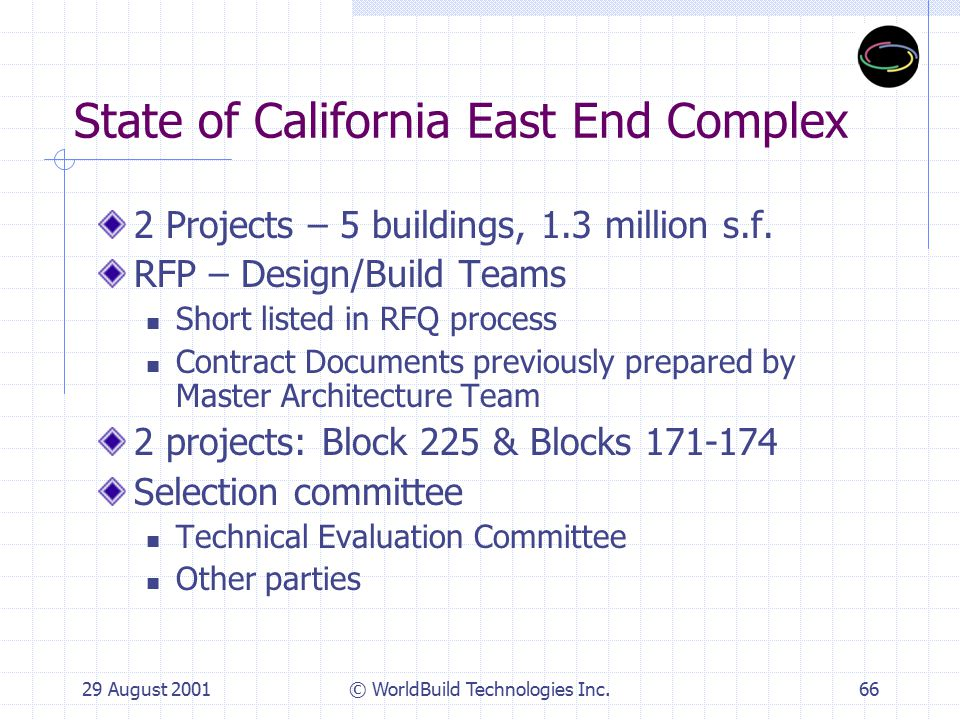 29 August 2001© WorldBuild Technologies Inc.67 Evaluation Criteria Certification of Stipulated Sum Designated Subcontractors (17%) Design & CM Plan (31%) Small Business/DVBE Plan (4%) Building Systems Description (24%) Energy Efficiency/Sustainable Design Measures - (45/216 points = 21%) = 5% of Total Quality Enhancements (24%)