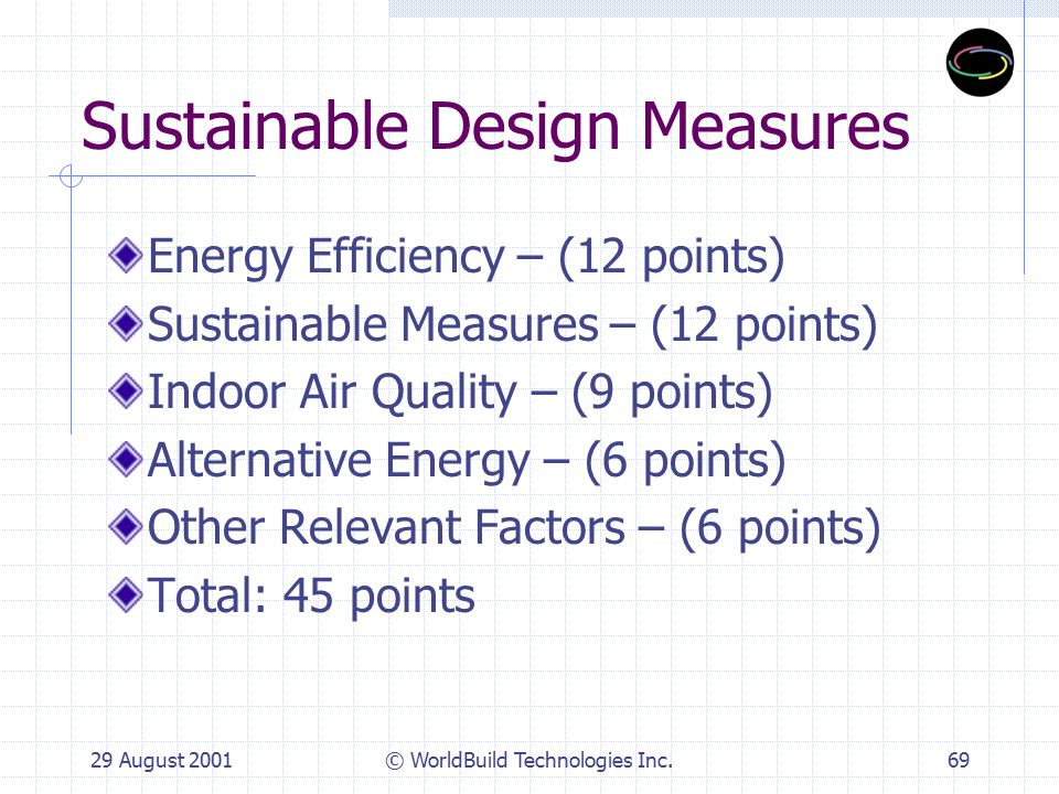 29 August 2001© WorldBuild Technologies Inc.70 Proposed Quality Enhancements Further Energy Efficiency – 12 pts.