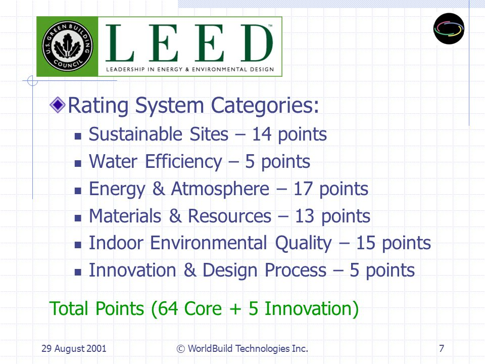 29 August 2001© WorldBuild Technologies Inc.8 LEED Award Levels Certified: 26 – 32 Points Silver: 33 – 38 Points Gold: 39 – 51 Points Platinum: 52+ Points Let the Competition Begin!