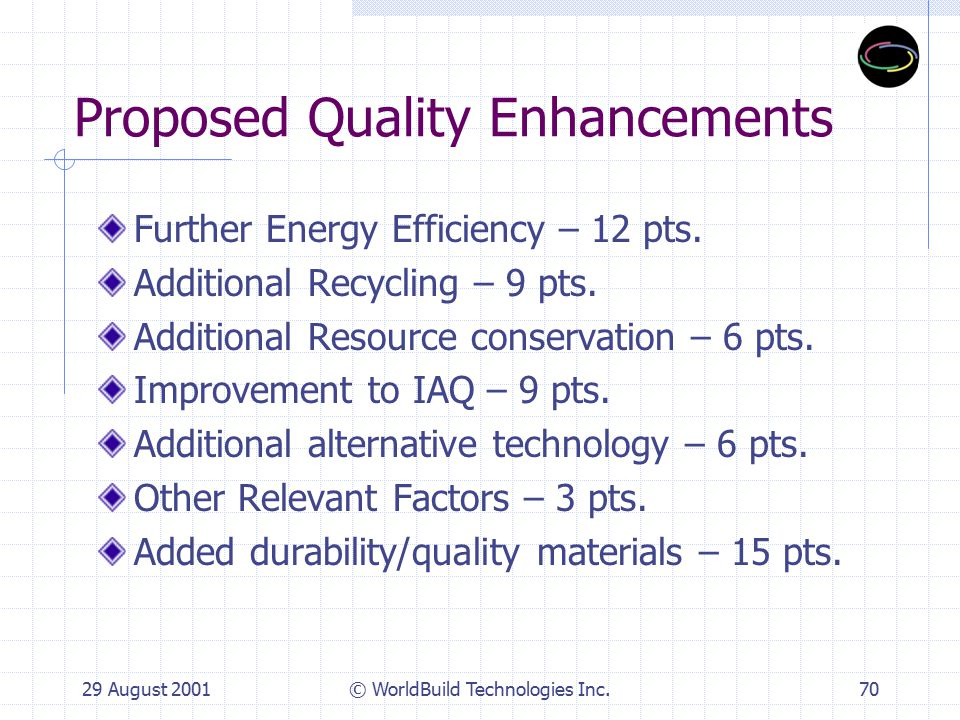 29 August 2001© WorldBuild Technologies Inc.71 TEC Composition Representatives from the State: Group I – General Design Elements  Master Architect  Project Consultant  RESD/PMB and OEA  State Architect's Structure Safety Office Group II – Sustainable Building Elements  California Energy Commission  CA.