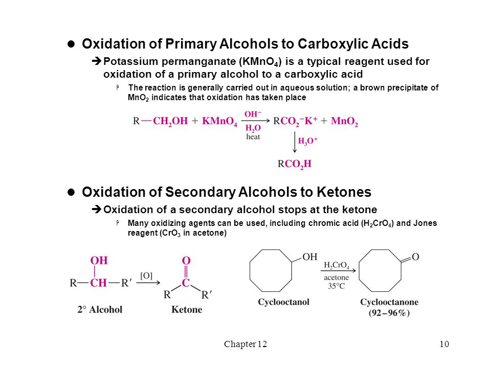 Chapter 1211 Mechanism of Chromate Oxidation  Step 1: A chromate ester is formed from the alcohol hydroxyl  Step 2: An elimination reaction occurs by removal of a hydrogen atom from the alcohol carbon and departure of the chromium group with a pair of electrons.