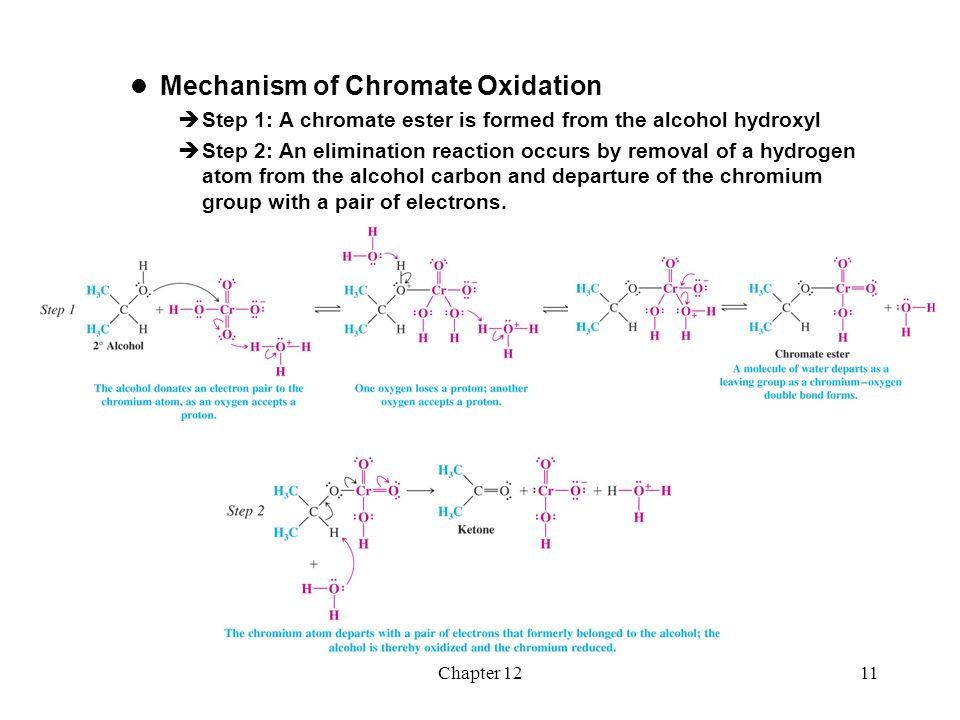 Chapter 1212  Aldehydes form hydrates in water  An aldehyde hydrate can react to form a chromate ester which can subsequently undergo elimination to produce a carboxylic acid  Pyridinium chlorochromate reactions are run in anhydrous methylene chloride and the aldehyde cannot form a hydrate  The oxidation of a primary alcohol therefore stops at the aldehyde stage  Tertiary alcohols can form the chromate ester but cannot eliminate because they have no hydrogen on the alcohol carbon  Tertiary alcohols are therefore not oxidized by chromium based reagents