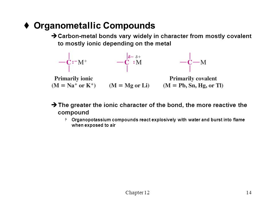 Chapter 1215  Preparation of Organolithium and Organo- magnesium Compounds Organolithium Compounds  Organolithium compounds can be prepared by reaction of an alkyl halide with lithium metal in an ether solvent  The order of reactivity of halides is R-I > R-Br > R-Cl (R-F is seldom used)