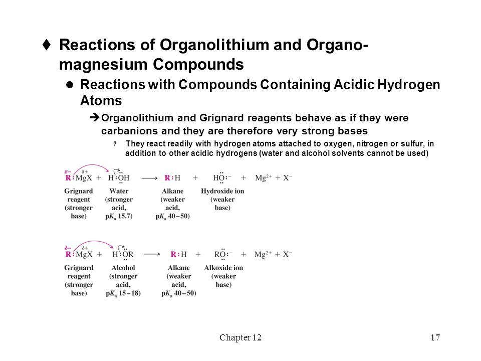 Chapter 1218  Organolithium and Grignard reagents can be used to form alkynides by acid-base reactions  Alkynylmagnesium halides and alkynyllithium reagents are useful nucleophiles for C-C bond synthesis