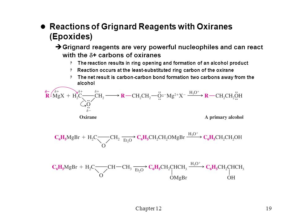 Chapter 1220 Reaction of Grignard Reagents with Carbonyl Compounds  Nucleophilic attack of Grignard reagents at carbonyl carbons is the most important reaction of Grignard reagents  Reaction of Grignard reagents with aldehydes and ketones yields a new carbon- carbon bond and an alcohol