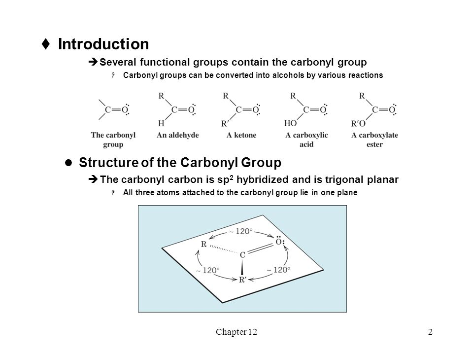 Chapter 123  The carbonyl group is polarized; there is substantial  + charge on the carbon