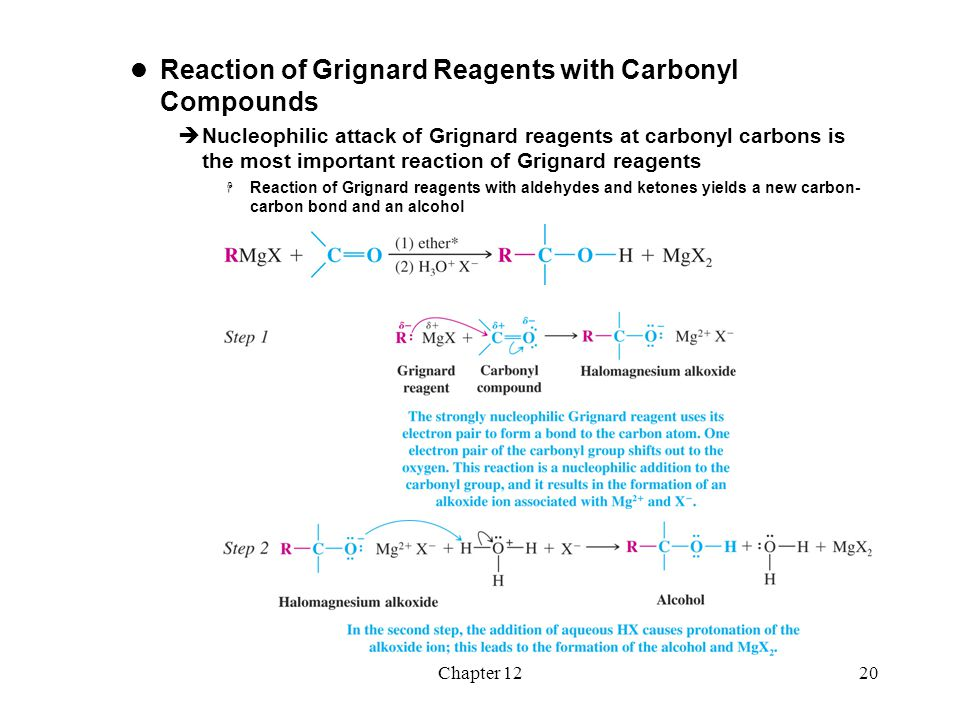 Chapter 1221  Alcohols from Grignard Reagents  Aldehydes and ketones react with Grignard reagents to yield different classes of alcohols depending on the starting carbonyl compound