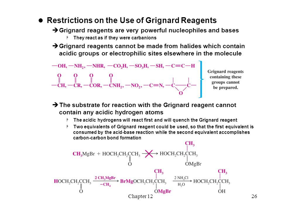 Chapter 1227 The Use of Lithium Reagents  Organolithium reagents react similarly to Grignard reagents  Organolithium reagents tend to be more reactive The Use of Sodium Alkynides  Sodium alkynides react with carbonyl compounds such as aldehydes and ketones to form new carbon-carbon bonds