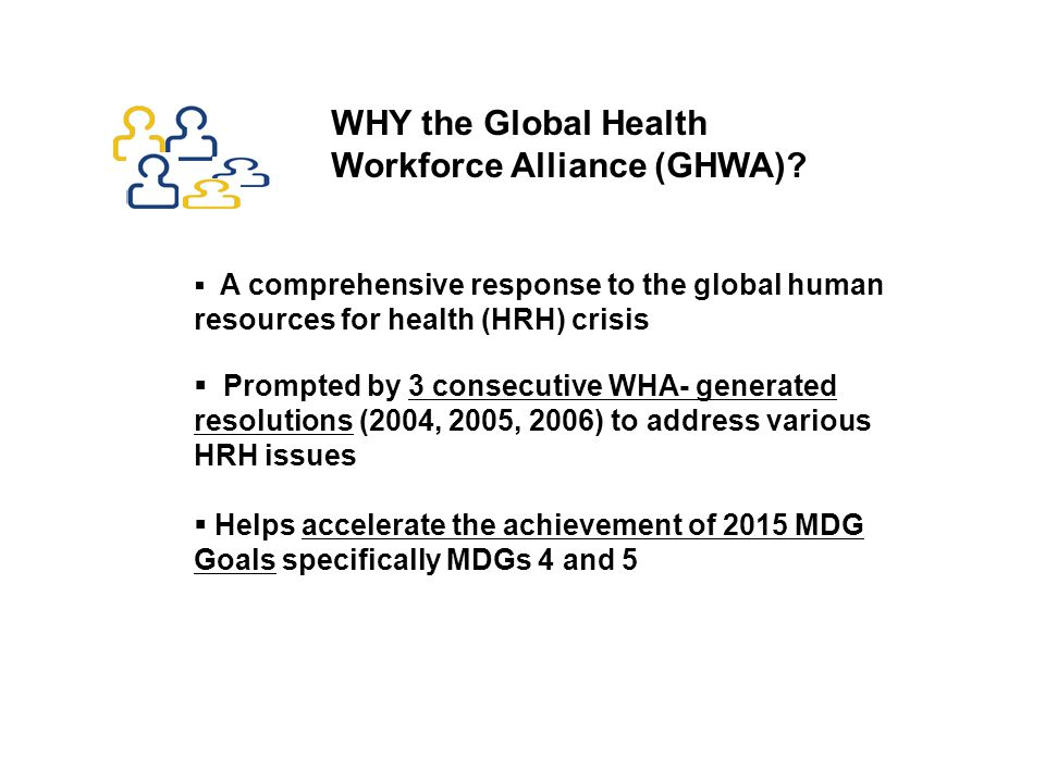 200620082010 The Global Health Workforce Alliance (GHWA) 2011 1 st Global Forum GHWA launched Global CHW consultation 2 nd Global Forum
