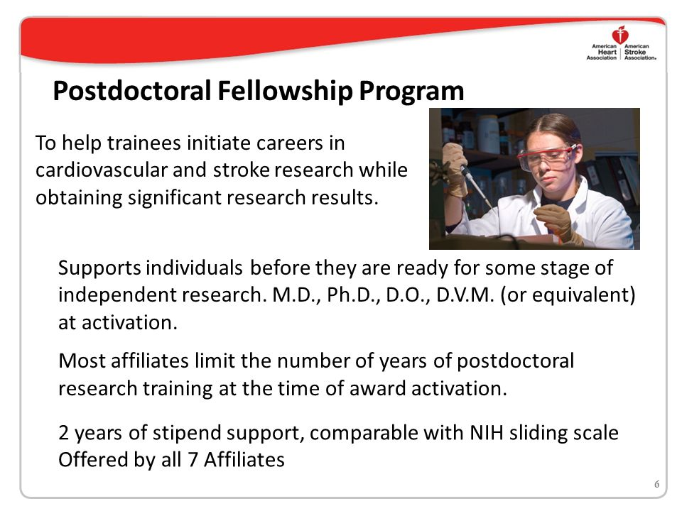 Mentored Clinical & Population Research Award 7 Encourages early career investigators who have appropriate and supportive mentoring relationships to engage in high quality introductory and pilot clinical studies that will guide future strategies for reducing cardiovascular disease and stroke, while fostering new research in clinical and translational science, and encouraging community- and population-based activities.