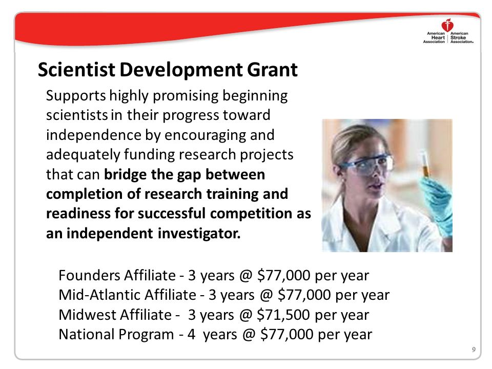 Grant-in-Aid Offered by all 7 affiliates Award amounts range from $66,00 - $77,000 per year 2-year award; 3-year award in Founders Affiliate To encourage and adequately fund the most innovative and meritorious research projects from independent investigators 10