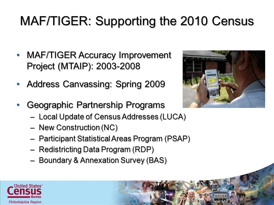 MAF/TIGER: Supporting the 2020 Census + Geographic Support System Initiative (GSS-I)Geographic Support System Initiative (GSS-I) –Integrated program utilizing partner-provided geospatial data for: Improved address coverageImproved address coverage Continual spatial feature updatesContinual spatial feature updates Enhanced quality assessment & measurement (QI)Enhanced quality assessment & measurement (QI) –May allow for a targeted address canvassing operation in 2019 (cost avoidance) –Better quality throughout the decade to support intercensal surveys (ACS) http://www.census.gov/geo/www/gss/