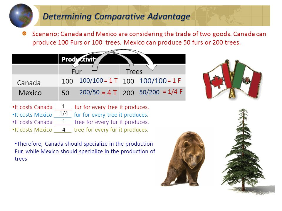 Determining Comparative Advantage Scenario: Canada and Mexico are considering the trade of two goods.