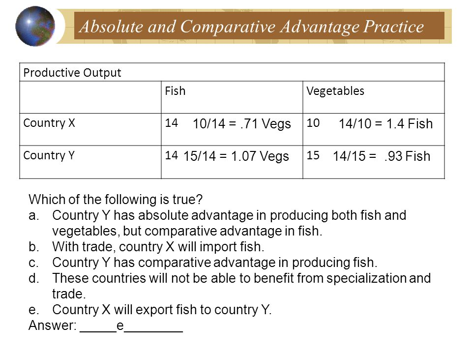 Absolute and Comparative Advantage Practice Productive Output FishVegetables Country X1410 Country Y1415 Which of the following is true.