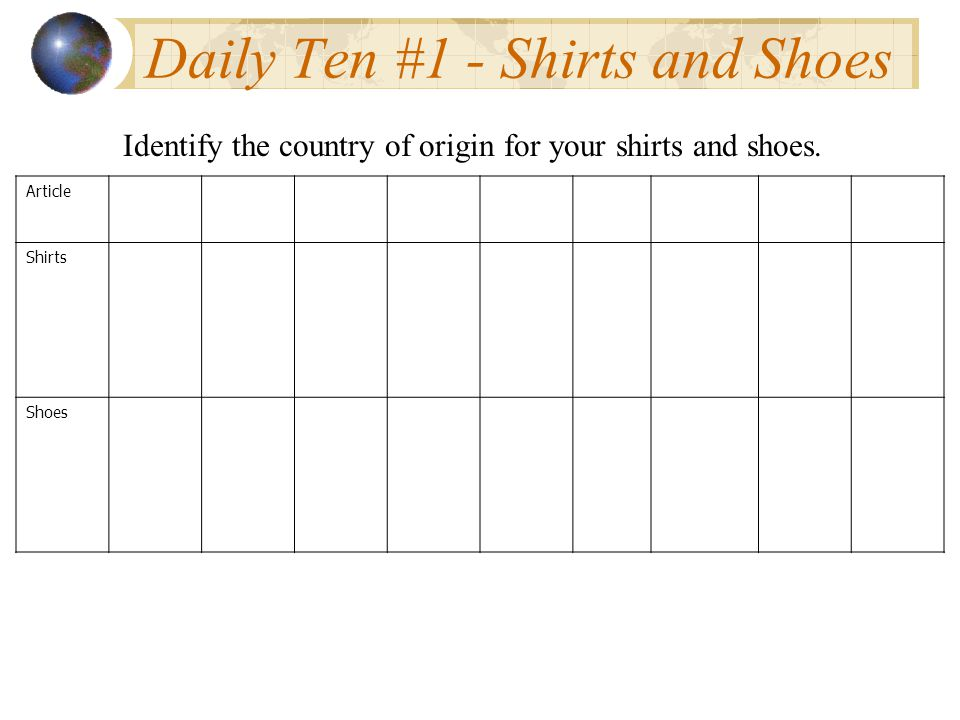 Daily Ten #1 - Shirts and Shoes Article Shirts Shoes Identify the country of origin for your shirts and shoes.