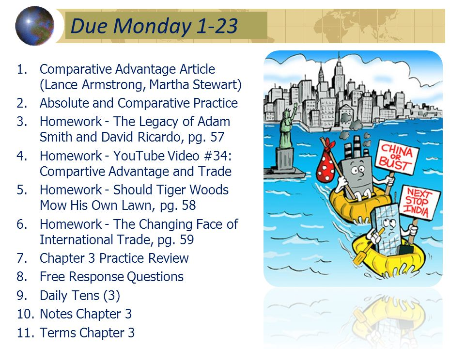 Due Monday 1-23 1.Comparative Advantage Article (Lance Armstrong, Martha Stewart) 2.Absolute and Comparative Practice 3.Homework - The Legacy of Adam Smith and David Ricardo, pg.