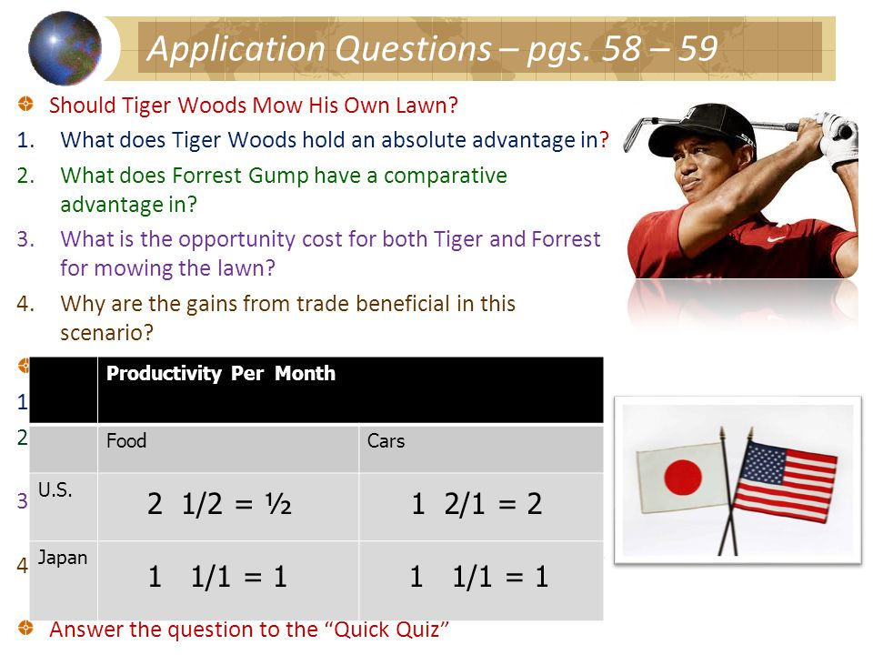 Application Questions – pgs.58 – 59 Should Tiger Woods Mow His Own Lawn.