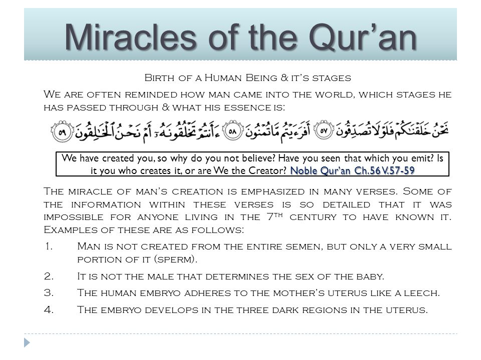 Miracles of the Qur'an How could Muhammad (S) have possibly known all this 1400 years ago, when scientists have only recently discovered this using advanced equipment and powerful microscopes which did not exist at that time.