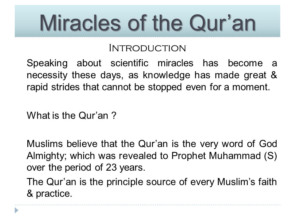 Miracles of the Qur'an Introduction What is Science .