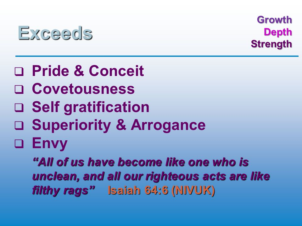 GrowthDepthStrength Righteousness   Matthew 5:10 – persecuted for   Matthew 5:20 – exceeds   Matthew 6:1 – acts of   Matthew 6:33 – kingdom of