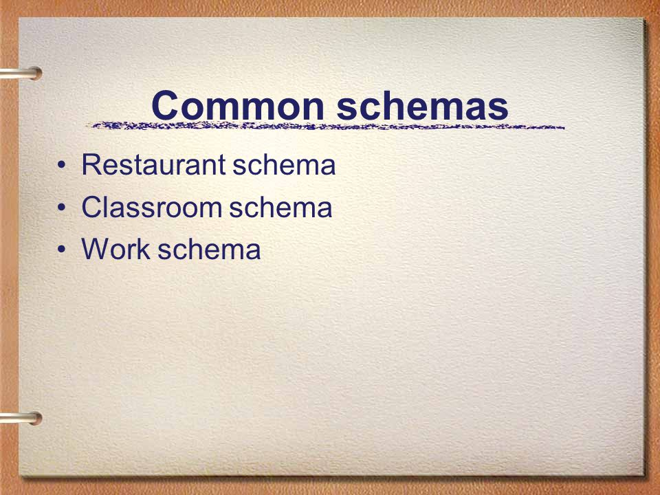 Schemas provide fine details that inform our expectations Romantic comedy schema Suspense schema Mystery schema Macintosh desktop schema PalmPilot schema TiVo schema