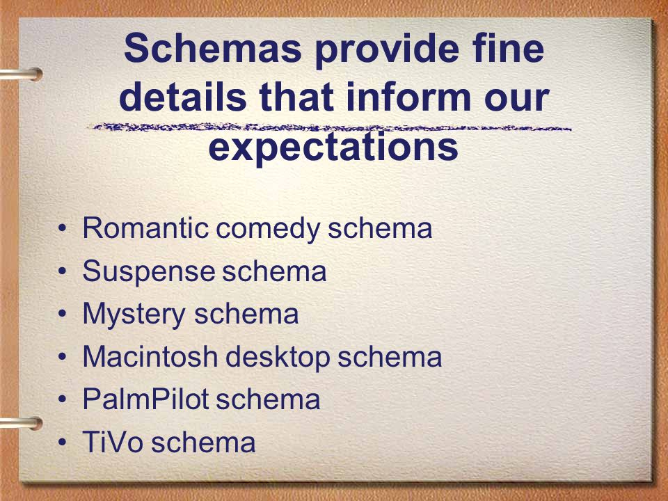 Schemas also provide blueprints for action If schemas enable us to perceive the world, scripts provide the means for us to act upon it.