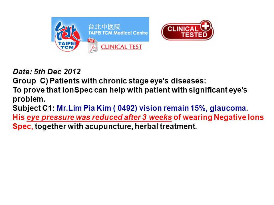 Date: 5th Dec 2012 Subject B1(Mr.Ong) Subject with complex visual problems (due to accident impact on his eye): Myopic vision has improved 10% in the beginning of 2 weeks (30th Dec 2012).