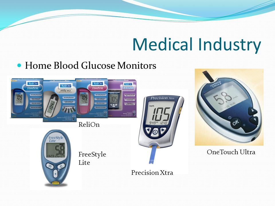 Medical Industry Home Blood Glucose Monitors (Continued) Determines approximate concentration of glucose in the blood Used mainly with people who have diabetes or hypoglycemia How They Work Today, most glucose monitors use an electrochemical method Glucose in blood reacts with an enzyme electrode containing glucose oxidize The enzyme is reoxidized with an excess of mediator reagent The mediator is reoxidized by a reaction at the electrode and a current is created The charge passing the electrode is proportional to glucose level