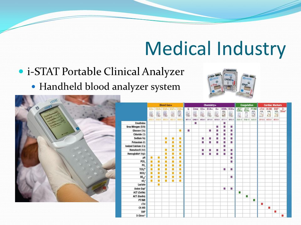 Medical Industry i-STAT (Continued) Provides fast, accurate, and lab-quality results within minutes to accelerate decision making process How It Works Uses Si in the sensor cartridge as a substrate and a conducting base; electronics are housed in the handheld device Sensors are micro-fabricated thin film electrodes Depending on particular assay the electrical signals produced are measured by the i-STAT's amperometric, potentiometric, or conductometric circuits.