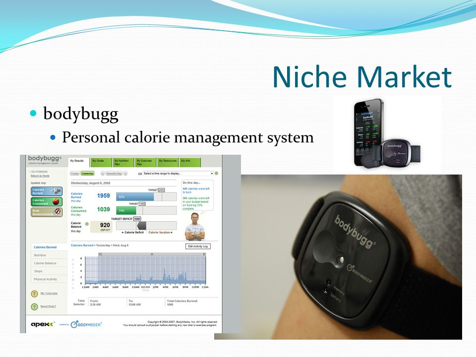 Niche Market bodybugg (Continued) Uses multiple physiological sensors for sensor fusion Accelerometer Tri-axis micro-electro mechanical sensor that measures motion Heat Flux Sensor that measures heat being dissipated by the body via a thermally resistant material Galvanic Skin Response Measures skin conductivity Skin Temperature Skin temperature measured using a thermistor-based sensor