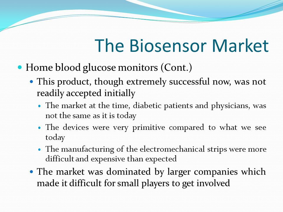 Use in the Food Industry There is an increasing demand for biosensors in the food industry In the past little attention was given to using biosensors to examine food for pathogens However, with a rise of incidents involving contaminated food there is now a need for a sensor that can accurately and quickly determine if food is contaminated There are few sensors designed to do this now but this is a major field of new research