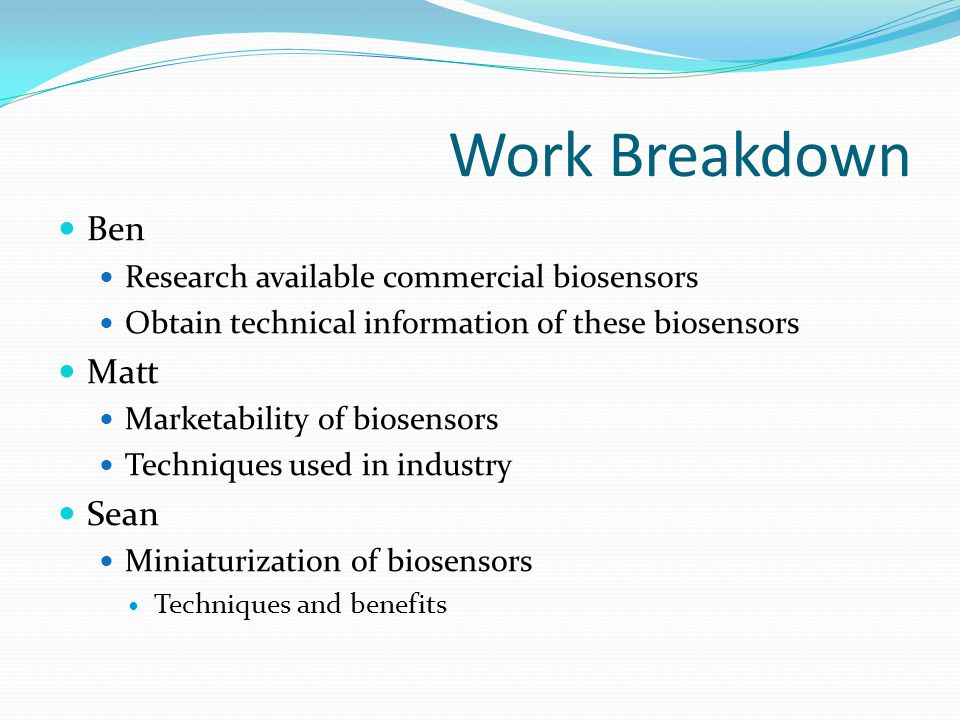 Schedule Gantt Chart Commercially Available BiosensorsWeek of1-Mar8-Mar15-Mar22-Mar29-Mar5-Apr12-Apr19-Apr26-Apr3-May10-May Activity Presentation 1 Report 1 Due Report 1 Review Due Report 2 Due Presentation 2 Report 2 Review Due Final Presentation Final Report Due Find Additional Commercial Biosensors Technical Information on Biosensors Marketability of Biosensors Availability of Biosensors