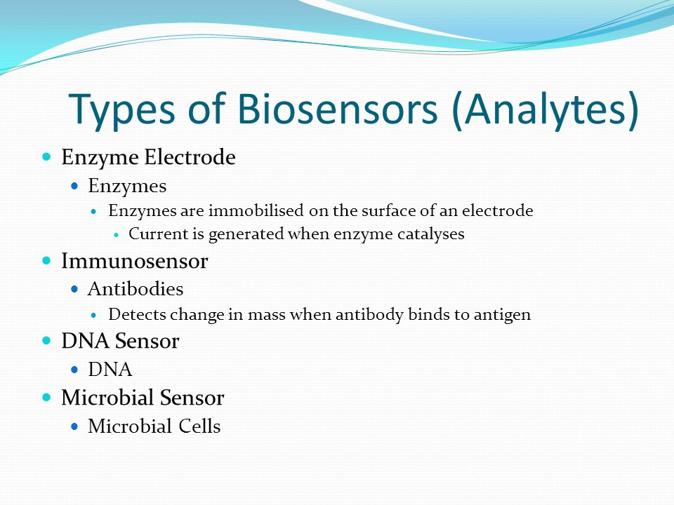 Types of Biosensors (Detection Mode) Electrochemical Potentiometric Amperometric Voltametric Optical Florescence Adsorption Reflection Electrical Surface conductivity Electrolyte conductivity
