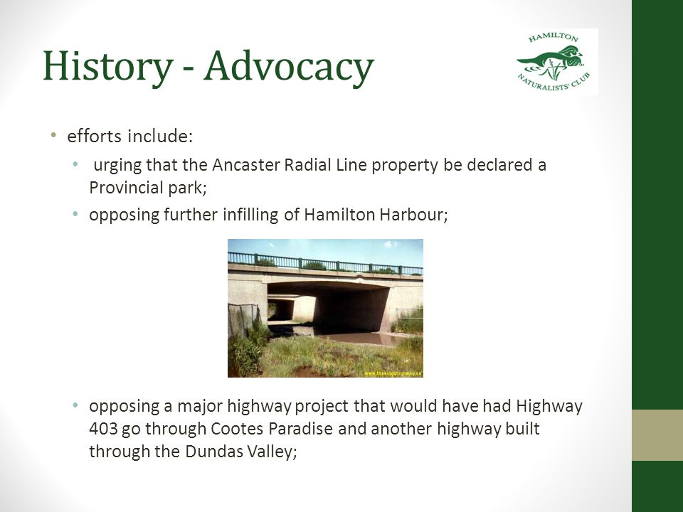 History – Advocacy 1995-96 Red Hill Valley Despite efforts by the HNC and other Friends of the Red Hill Valley an expressway was erected in the early 2000's