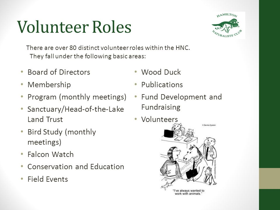 Volunteer Roles Episodic Occasional Weekly Monthly Ongoing Work Party Outing registration Junior Naturalist Biologist Team Leadership Project Management Event Planning Administrative Fund Development