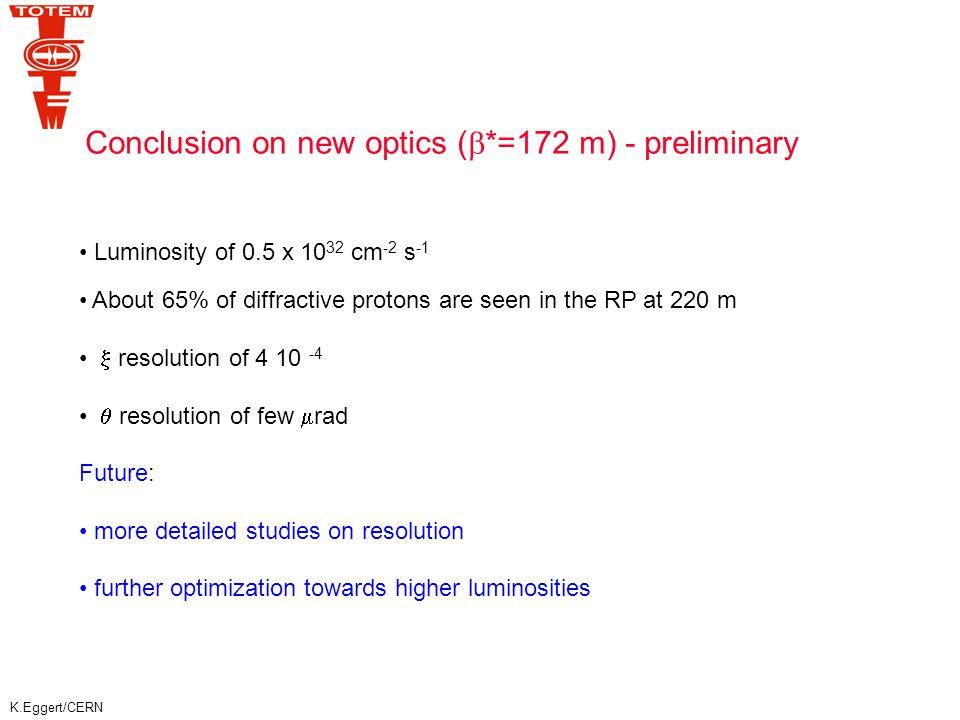 K.Eggert/CERN Example Processes P p1p1 p2p2 p2'p2' X d  /d  proton:p 2 ' diffractive system X rapidity gap  = – ln   min 0 ln(2p L /p T )  max Measure leading proton (   and rapidity gap (  test gap survival).