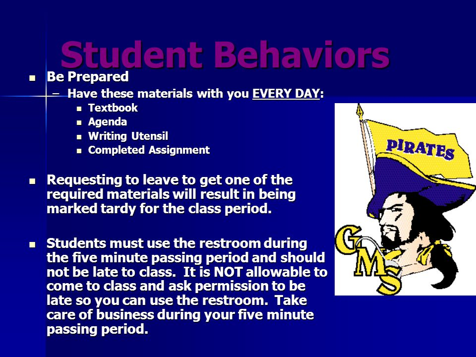 Student Behaviors Be a polite and positive participant Be a polite and positive participant –Speak only when given permission, and listen when others are speaking –Raise your hand and be called on by the teacher before you speak.