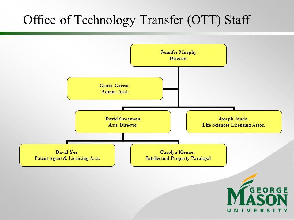 Office of Technology Transfer (OTT) Staff In-house Technical Expertise Life Sciences Computer Science Electrical Engineering Chemistry