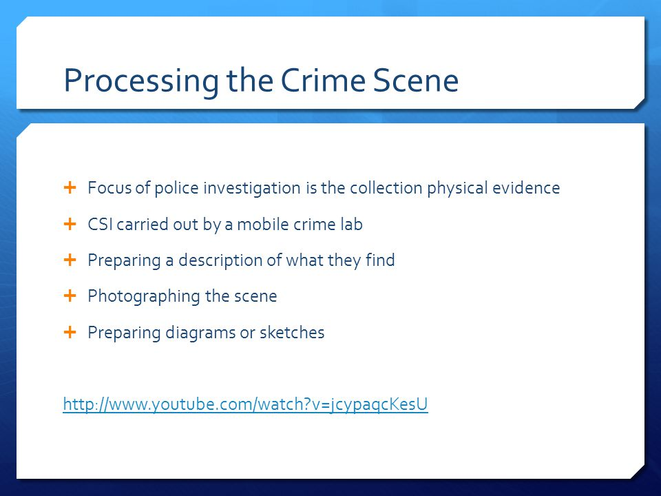 Crime Scene Procedures It is important to safeguard the continuity of evidence:  No evidence is left unattended from the time of seizure  locked and logged in locker  The case officer (the officer who seized the item) or his/her designate is responsible for the transfer of evidence to the forensic laboratory and to and from court