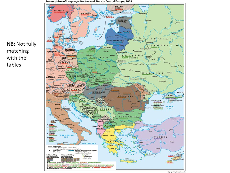 The Complication of the EU YearIsomorphic StatesNumber of Isomorphic States 2004Albania, Bulgaria, Czech Republic, Estonia, Hungary, Latvia, Lithuania, Macedonia, Norway Poland, Romania, Slovakia, Slovenia 13 2004 (European Union treated as a single, non- ethnolinguistic polity) Albania, Bulgaria, Macedonia, Norway, Romania5 2007Albania, Bulgaria, Czech Republic, Estonia, Hungary, Latvia, Lithuania, Macedonia, Montenegro, Norway Poland, Romania, Slovakia, Slovenia 14 2007 (European Union treated as a single, non- ethnolinguistic polity) Albania, Macedonia, Montenegro, Norway3 2008Bulgaria, Czech Republic, Estonia, Hungary, Latvia, Lithuania, Macedonia, Montenegro, Norway Poland, Romania, Slovakia, Slovenia 13 Albania 2008 (European Union treated as a single, non- ethnolinguistic polity) Macedonia, Montenegro, Norway3 2010Bulgaria, Czech Republic, Estonia, Latvia, Lithuania, Macedonia, Montenegro, Norway, Poland, Slovenia 10 Hungary, Romania, Slovakia 2010 (European Union treated as a single, non- ethnolinguistic polity) Macedonia, Montenegro, Norway3