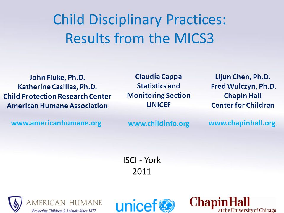 Overview Paper 1: UNICEF Multiple Indicator Cluster Surveys (MICS) – History – MICS3 child discipline module – Methodology Paper 2: Overview of Results: Items and Subscales – Violent: Psychological, physical, and severe physical – Belief in need for physical punishment – Nonviolent Paper 3: Risk & Protective Factors – SES & Household Characteristics – Child Characteristics – Attitudes about Violence – Caregiver Characteristics – Summary & Program Implications